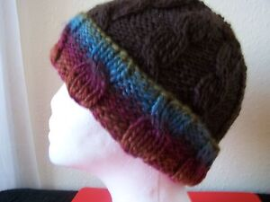 Hand knitted warm & cozy beanie/hat, cable pattern, brown + colors, youth