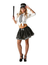 POLICE WOMEN OUTFIT TUTU  HAT AND TIE BLACK WHITE HEN PARTY FANCY DRESS SEXY