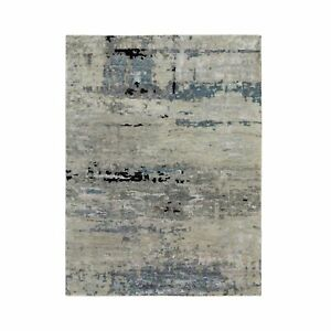 4'x6' Silver, Blue Wool-Silk Abstract Design Modern Hand Knotted Rug R58484