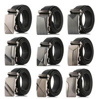 Men Military Strap Automatic Buckle Leather Belts Ratchet Waistband Waist Belts