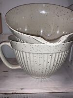 Shabby Chic melamine 4 Quart Batter mixing bowls Cream Speckled Farmhouse NEW