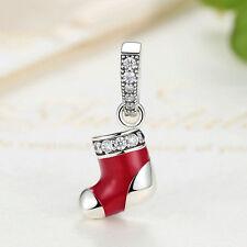 Red Enamel Christmas stocking .925 Sterling Silver Charm Pendant fit Bracelet