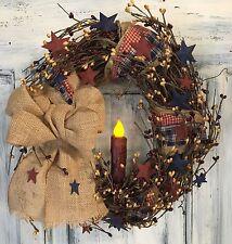 "12""Primitive Country Americana Grapevine Wreath W/homespun & Pip Berries W/stars"
