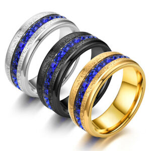 Stainless Steel Elegant Wedding Engagement Band Ring for Men Women Blue CZ Inlay