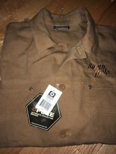 South Pole Canvas Shirt L Mens Brown Duck Heavy Duty Work Cotton Pockets Rivets