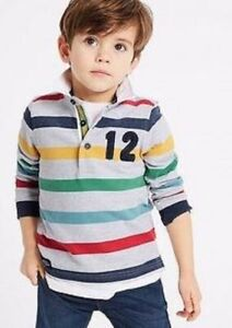 Boys rugby shirt top M & S baby 3 6 12 18 24 m 2 3 4 5 6 years RRP £10- 16 grey