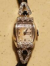 WoW! 14K White Gold  22 DIAMOND+ SAPPHIRE Hamilton VINTAGE Ladies Watch 12.8g
