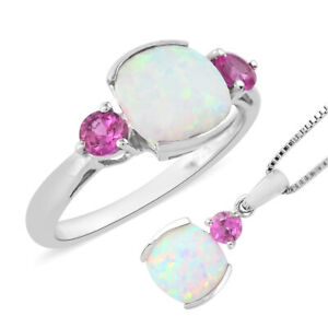 925 Silver Created Milky Opal Sapphire Gemstone Ring Pendant Necklace Set