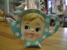 NAPCO Miss Cutie Pie Tea bag holder Blue Vintage 1950's