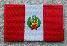 PERU FLAG PATCH Embroidered Badge Iron or Sew on 3.8cm x 6cm Perú South America