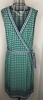 MAX STUDIO MAX MARA Blue White Green Art Deco Wrap Dress Extra Large 16 18