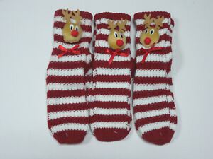 Ladies 3 pairs Rudolph Reindeer Chunky Socks Stocking Filler Christmas Bargain