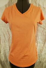 Womens Champion Bright Orange Athletic Workout Top Shirt V-Neck Cotton Blend XS