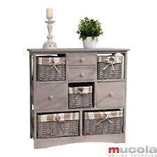 Regalschrank anrichte Sideboard Kommode Vintage grau Körbe Schubladen Flurregal