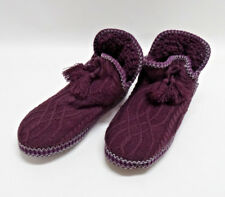 MUK LUKS PURPLE KNITTED SLIPPERS - FAUX SHEARLING LINED SIZE LARGE 9-10 EUC