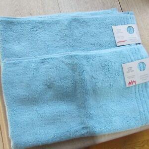 John Lewis 2 X Ultra Soft Cotton Hand Towels In Pool Blue - 50cm x 90cm - X 2.