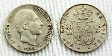ALFONSO XII 20 CENTESIMI DI PESO 1884 MANILA VF/MBC+ SILVER//ARGENTO 5 g. BASSA