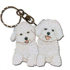 Bichon Frise Keychain Key Ring Wooden