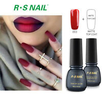 2PCS RS Nail  Gel Nail Polish LED UV Hybrid Gel Colour Red +Matte Top Coat
