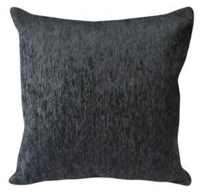 Wb09Ba Plain Gray Black Chenille Cotton Throw Cushion Cover/Pillow Case*Size*