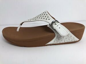 NEW FitFlop L44-194 Skinny Toe Post Latticed Urban White Sandal Women's US 9