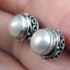 Quality WHITE PEARL & 925 Sterling Silver STUD Earrings Jewellery