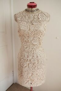 LIPSY LONDON Cream Lace DRESS Size UK 12 Bodycon Bow Retro Cocktail Party Races