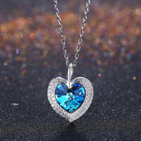 Halskette Damen 925 Silber Schmuck Anhänger Herz Blau Lekani® SWAROVSKI® Element