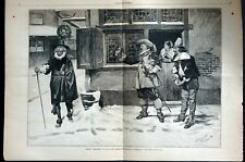 Christmas in Old Days 1882 PILGRIMS BEER HOUSE PREACHER Large Folio Engraving
