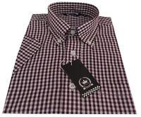 Relco Men's Burgundy Gingham Short Sleeve Button Down Collar Skins Wine Shirt