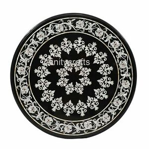 Handmade Black Marble Coffee Table Top Round Center Table Floral Design 30 Inch