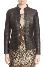 Lafayette 148 New York Quilted Brown Lambskin Leather Jacket Size 4