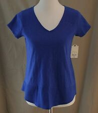 St. John��s Bay, PS, Bold Blue V-Neck, Long Tail Top, New with Tags