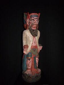 Wooden Balinese Priest figure statue Bali no batak asmat dayak topeng keris