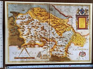 Old Tudor Saxton 1500's Map Denbighshire, Flintshire Wales 1577 Antique Reprint