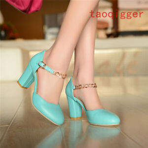 Mary Jane Women Chunky High Heels Round Toe T-Strap Pumps Dress Office Shoes New
