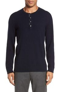 M162 NWT VINCE HENLEY 100% CASHMERE MEN SWEATER SIZE M in NAVY $335