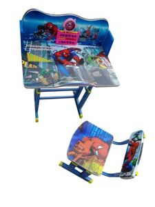 Kids Children Home Study Spiderman Chair Table Storage Cartoon Desk Stool Set