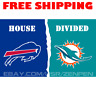 Buffalo Bills vs Miami Dolphins House Divided Flag Banner 3x5 ft NFL 2019 NEW