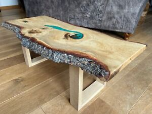 Oak Coffee Table with epoxy resin river Emerald Green design and art-deco square