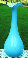"MURANO HAND BLOWN BLUE Bubble Pattern CASED GLASS VASE 16""H x &'W MINT"
