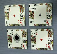 "Set 4 Ace Playing Card Suits Vintage 4"" Square Ceramic Tile Coasters FREE S/H"