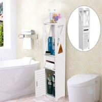 Slim Bathroom Storage Cabinet Floor Standing Narrow Cupboard Shelf  White U