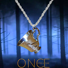Once Upon A Time Rumpelstiltskin, Belle, silver necklace with Tea Cup