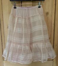 Vtg 50s Candy Stripe Pink Net Nylon Lingerie Petticoat Slip Underskirt Xs S
