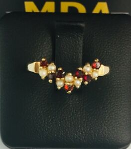 9CT YELLOW GOLD RUBY & PEARL RING