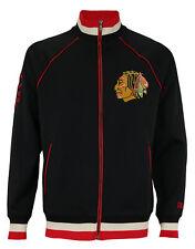 CCM NHL Men's Chicago Blackhawks Full Zip Track Jacket, Black