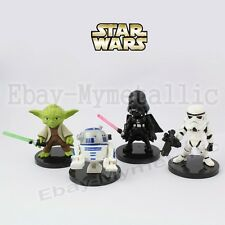 4pcs Star Wars Darth Vader/Stormtrooper/Yoda/ R2-D2 PVC 4-6cm Figure NO Box