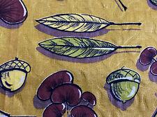 2YDS Chartreuse Biomorphic Acorns Barkcloth Era Vintage Fabric Yardage Unused