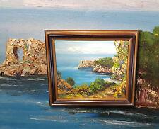 Paesaggio costiero Piemonte. Originale Italiano Dipinti a olio,autografato SANTI